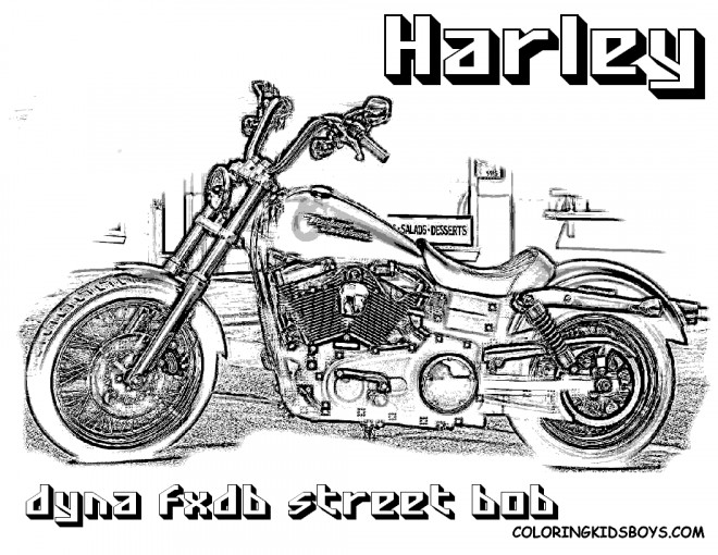 Coloriage Harley Davidson Dyna Street Bob dessin gratuit à