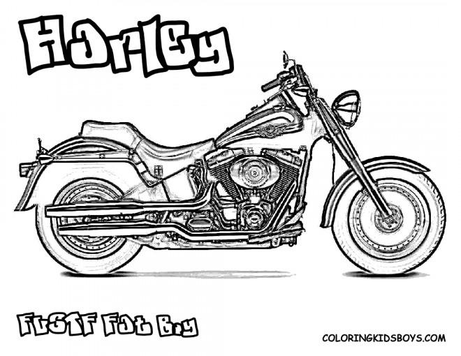 Coloriage Harley Davidson Fat Boy dessin gratuit à imprimer