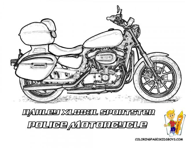 Coloriage Harley Davidson Moto de Police dessin gratuit à