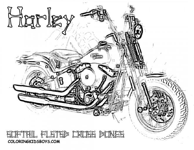 Coloriage Harley Davidson Softail Cross Bones dessin