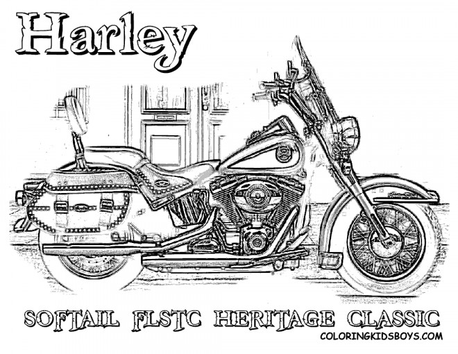 Coloriage Harley Davidson Softail Heritage Classique