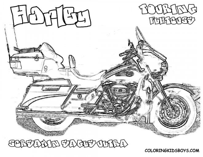 Coloriage Harley Davidson Touring réaliste