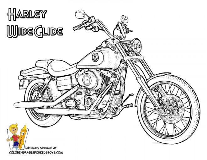 Coloriage Harley Wide Glide dessin gratuit à imprimer