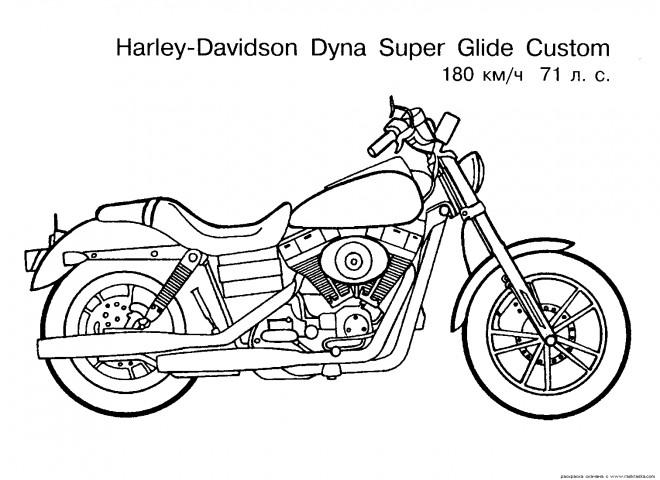Coloriage Moto Harley Davidson dessin gratuit à imprimer