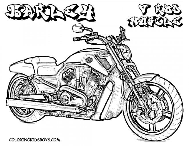 Coloriage Moto Harley Davidson puissante dessin gratuit à