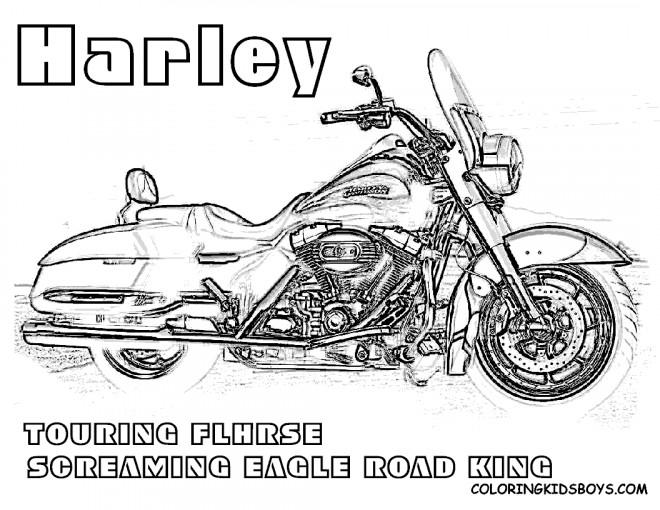 Coloriage Moto Harley Davidson Touring dessin gratuit à