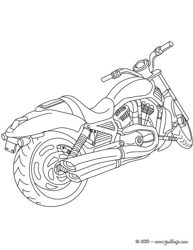 Coloriage Un Moto Harley Davidson au crayon dessin gratuit