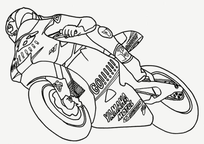 Coloriage Moto Yamaha en course dessin gratuit à imprimer