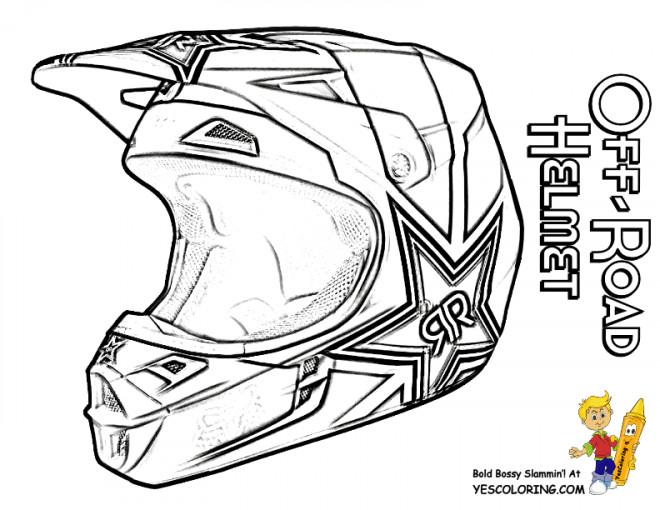Coloriage Casque de Moto Cross dessin gratuit à imprimer