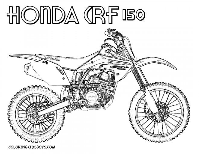 Coloriage Motocross Honda CRF dessin gratuit à imprimer