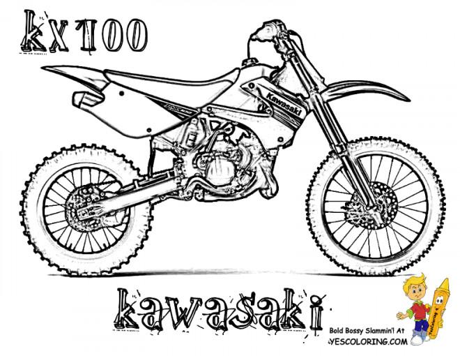 Coloriage Motocross Kawasaki modèle KX100 dessin gratuit à
