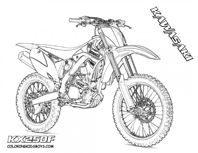 Coloriage Motocross Kawasaki pour spectacle dessin gratuit