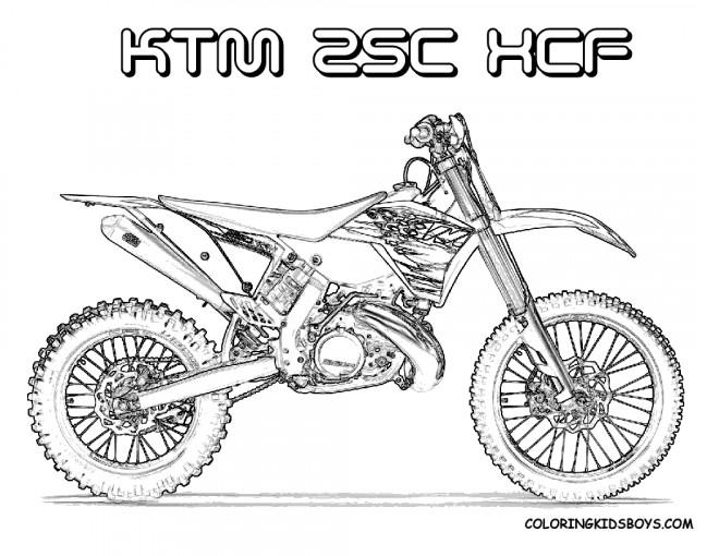 Coloriage Motocross Ktm pour découpage dessin gratuit à