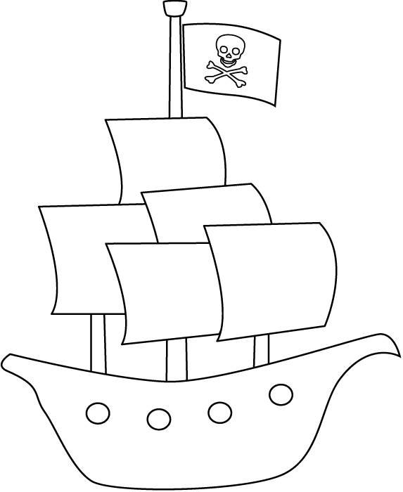 Coloriage navire pirate simple dessin gratuit à imprimer