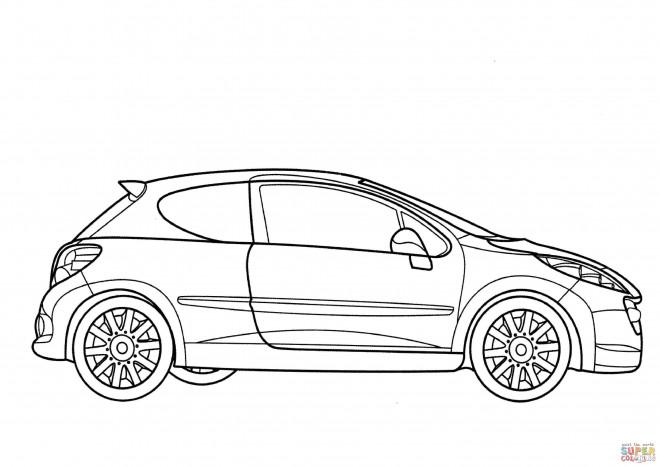 Coloriage Modèle de Peugeot 206 dessin gratuit à imprimer