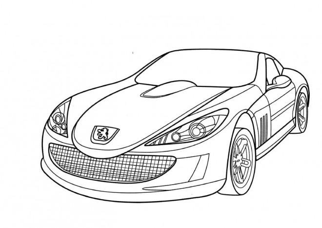 Coloriage Peugeot de luxe simple dessin gratuit à imprimer