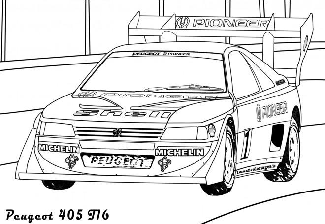 Coloriage Voiture de course Peugeot 405 dessin gratuit à