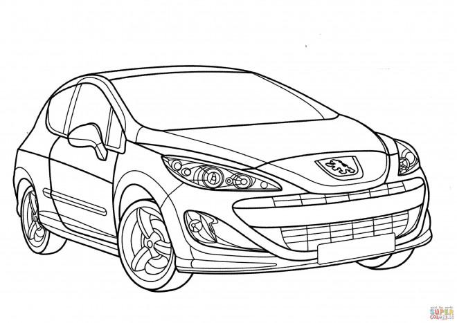 Coloriage Voiture Peugeot 208 dessin gratuit à imprimer
