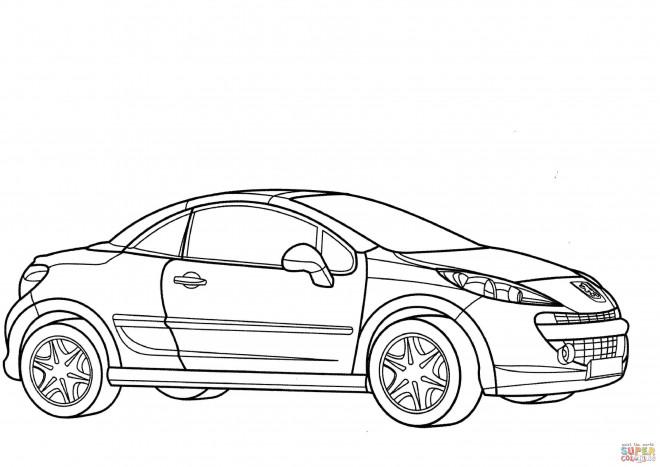 Coloriage Voiture Peugeot coupé dessin gratuit à imprimer