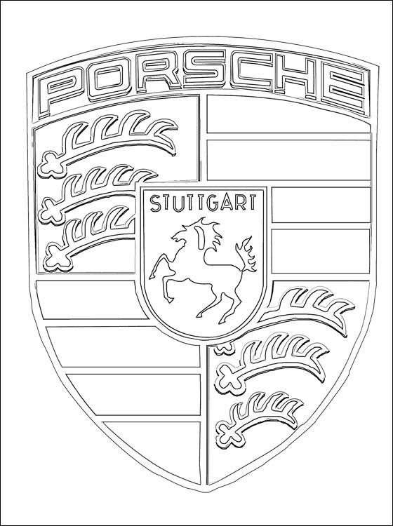 Coloriage Logo Porsche dessin gratuit à imprimer