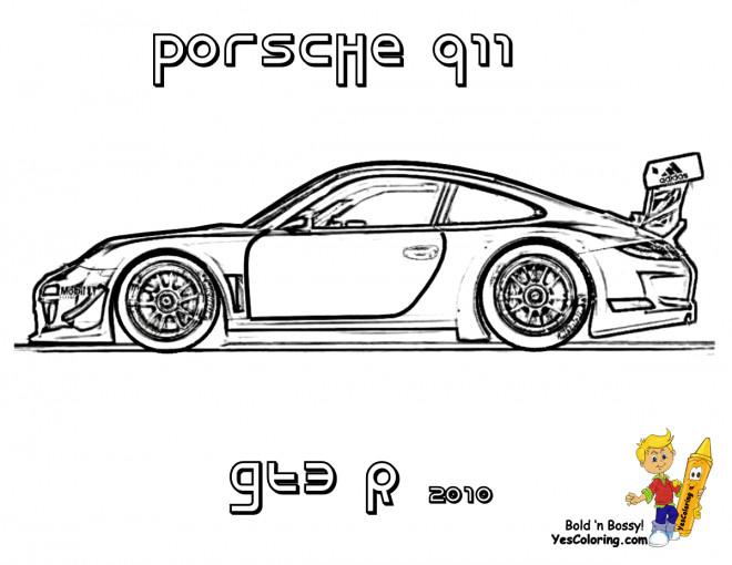 Coloriage Porsche 911 GTE dessin gratuit à imprimer