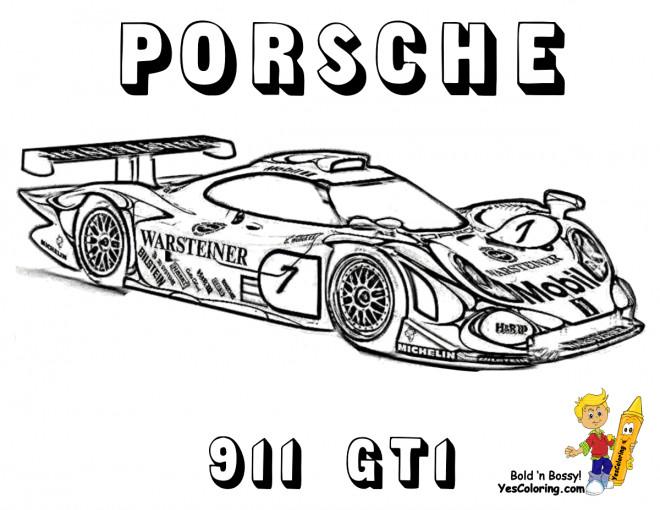 Coloriage Porsche de course 991 GT1 dessin gratuit à imprimer
