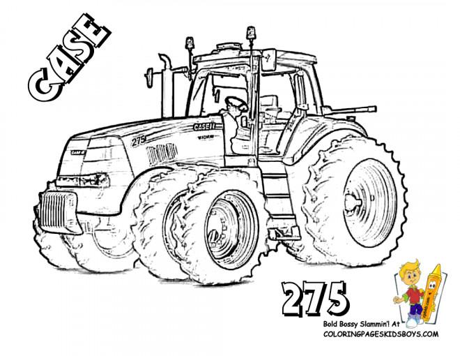 Coloriage Tracteur Case dessin gratuit à imprimer