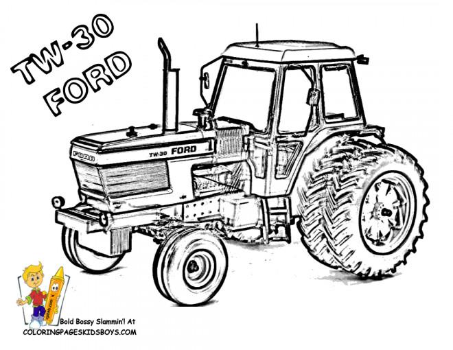 Coloriage Tracteur Ford dessin gratuit à imprimer