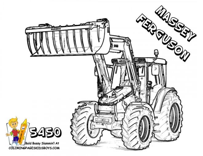Coloriage Tractopelle Massey Ferguson dessin gratuit à