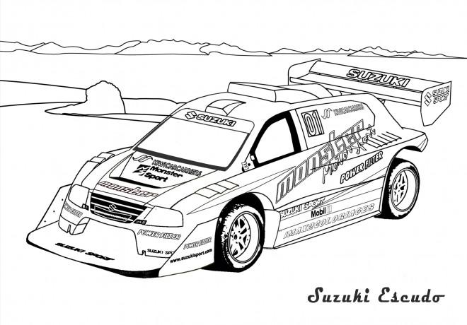 Coloriage Voiture de Rallye dessin gratuit à imprimer
