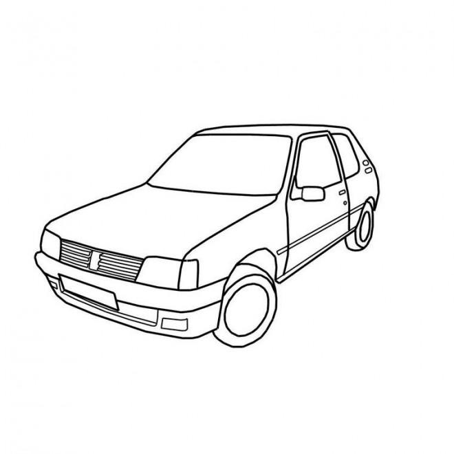 Coloriage Voiture Peugeot 205 dessin gratuit à imprimer