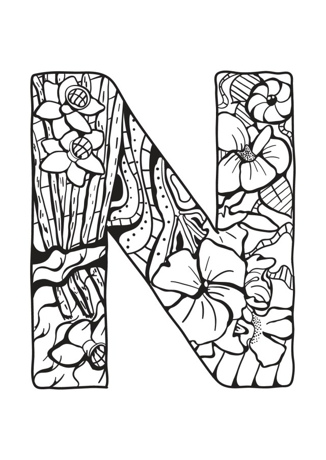 Alphabet lettre n - Coloriages alphabet et lettres