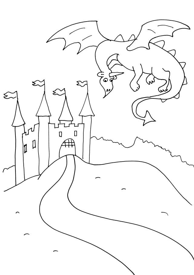Image de chevaliers et dragons à télécharger et colorier