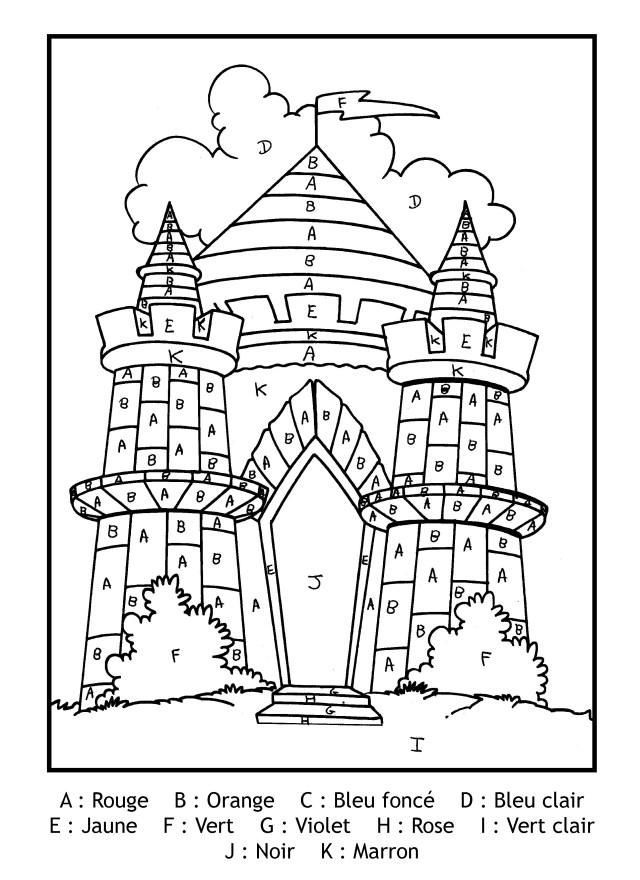 Magique gratuit lettres chateau - Coloriage magique - Coloriages