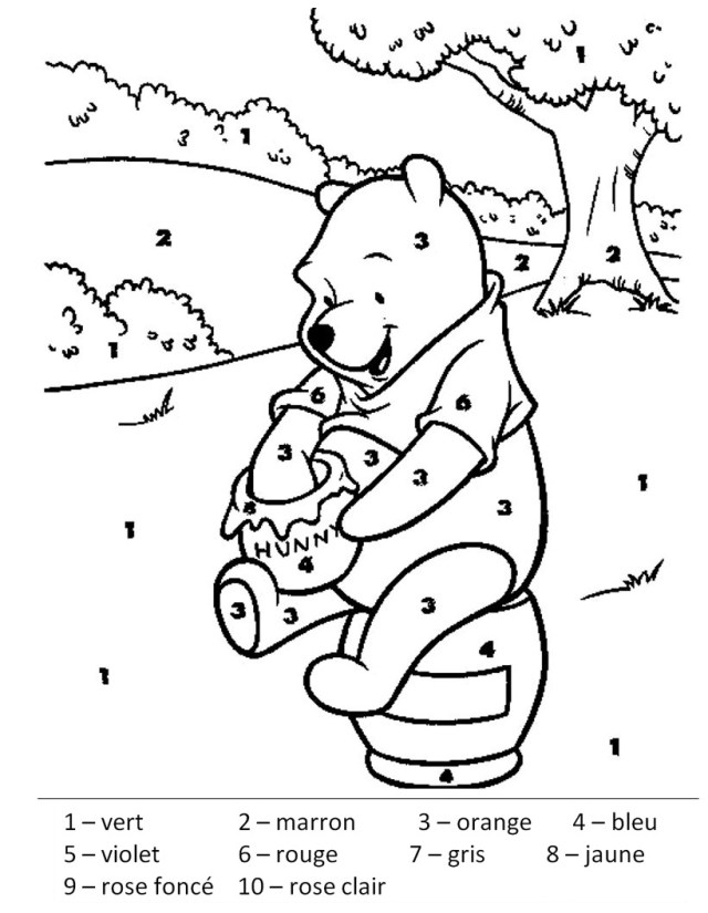 Magique winnie l ourson - Coloriage magique - Coloriages pour enfants