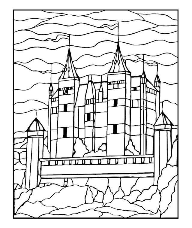 Pour dessin chateau gratuit a imprimer - Coloriage adulte