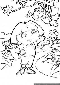 enfants babouche le singe ami de dora a colorier dessincoloriage
