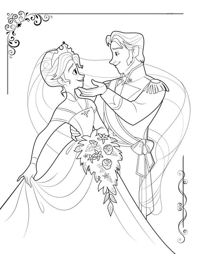 Reine des neiges elsa et hans dansant - Coloriage La reine des