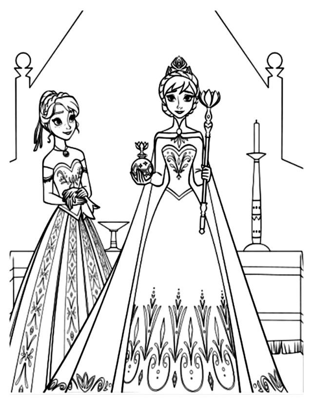 Reine neige disney soeurs - Coloriage La reine des neiges