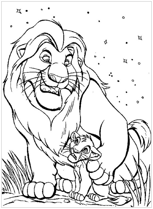 Mufasa et Simba - Coloriage Le roi lion - Coloriages pour enfants