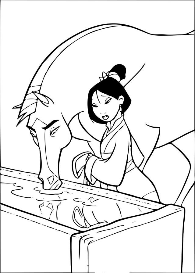 Image de Mulan à imprimer et colorier - Coloriage Mulan
