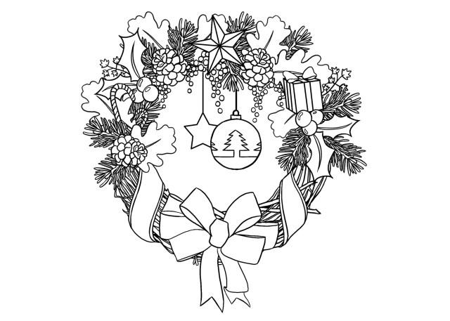 Belle couronne de Noël - Coloriages de Noël - Coloriages pour enfants