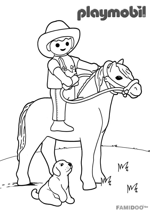 Coloriage playmobil cowboy - Coloriage Disney - Coloriages pour