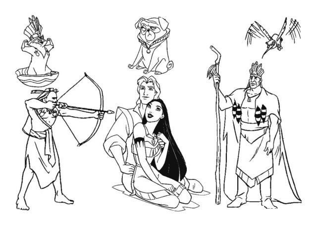 Coloriage de Pocahontas à colorier pour enfants - Coloriage