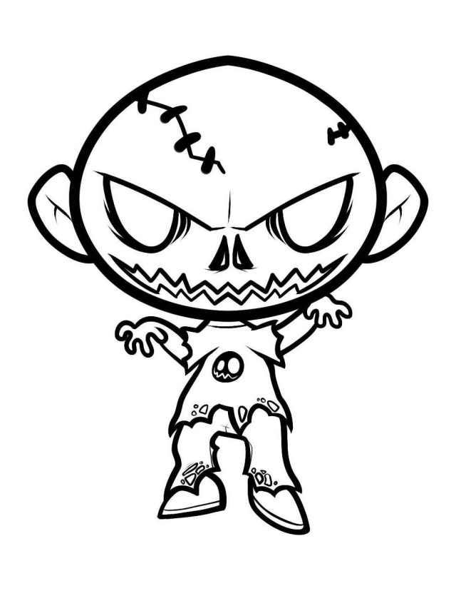 Image de zombie à imprimer et colorier - Coloriage de Zombies