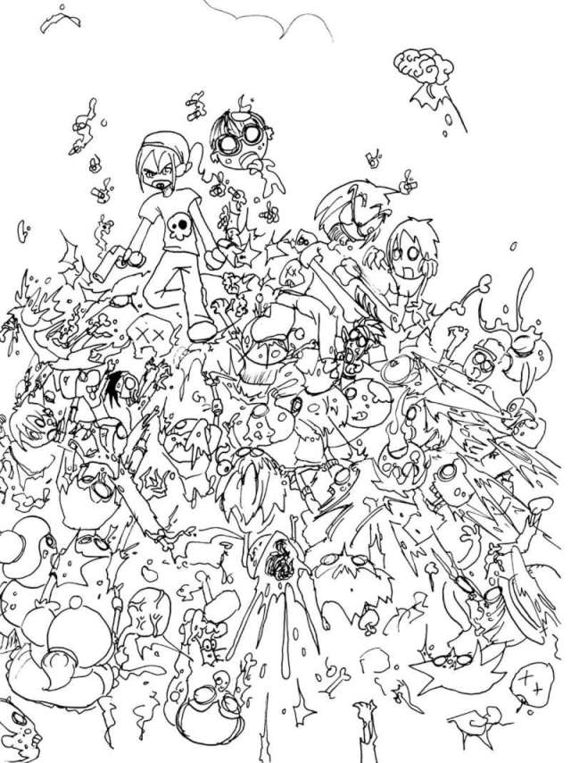 Coloriage de zombie gratuit à colorier - Coloriage de Zombies
