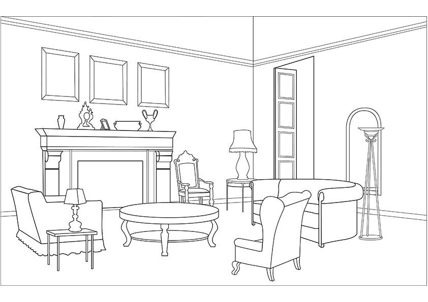 Coloriage Salon dessin à imprimer sur COLORIAGES .info