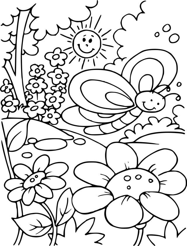 Coloriage de paysage du Printemps à imprimer sur Coloriage DE .com