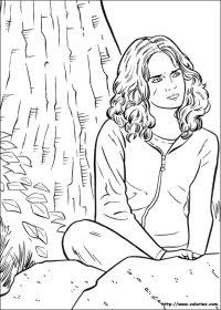 COLORIAGE - Coloriage Hermione est pensive