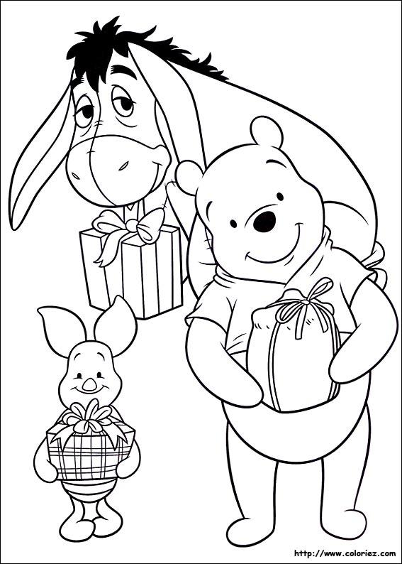 Coloriage des cadeaux de Winnie l'ourson